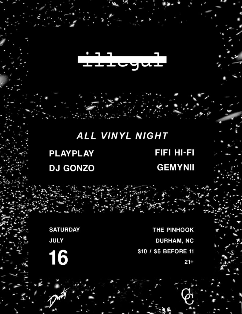 Most recently, we had an all-vinyl Party Illegal & I got to break out my 90s drum & bass & acid house records